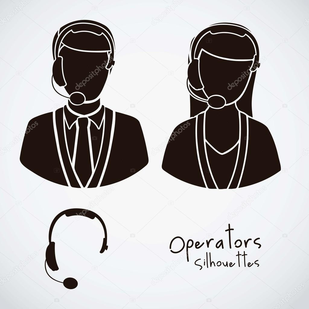 Illustration icon set of operators and e-commerce, vector illustration — Stock Vector #17170321