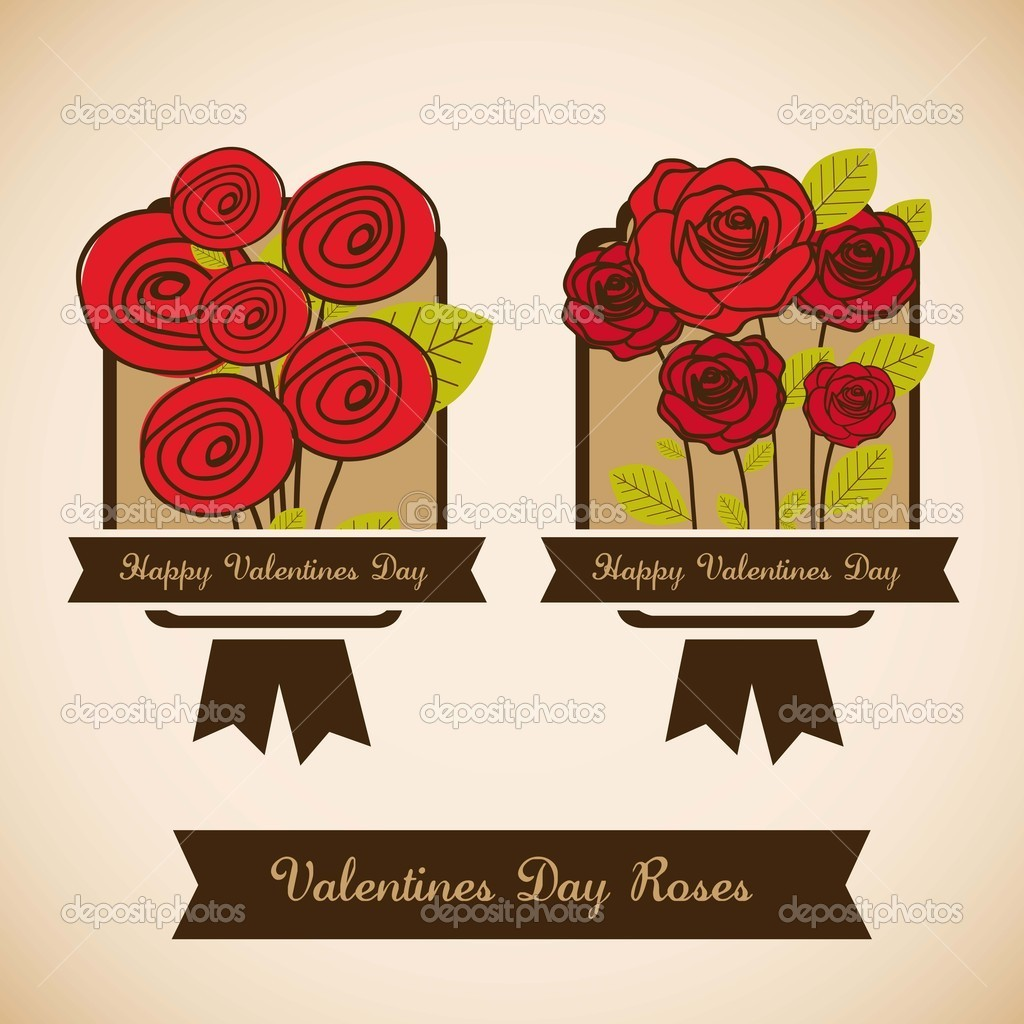 Illustration flowers icons, roses and valentines day, vector illustration  Stock Vector #17870873