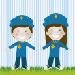 Police couple - Stock Vector