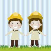 Engineer couple — Stock Vector