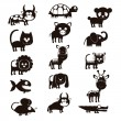 Wildlife and farm animals icons — Stock Vector