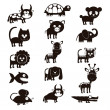 Stock Vector: Wildlife and farm animals icons
