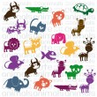 Wildlife and farm animals icons - Stock Vector