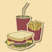 Vintage fast food — Stock Vector