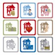 Real estate and house icons — 图库矢量图片