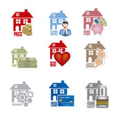 Real estate and house icons — Stock Vector