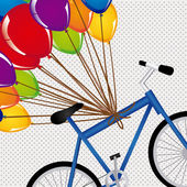 Ballons and bicycle — Stock Vector
