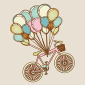 Bicycles and balloons — Stock Vector