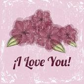 Je t'aime fleur design — Vecteur