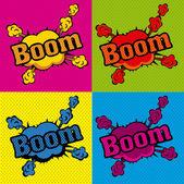 Boom comics icons — Stock Vector