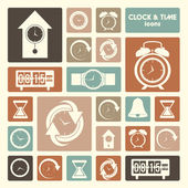 Clock and time icons — Stock Vector