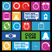Clock and time icons — Vector de stock