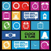 Iconos de reloj y el tiempo — Vector de stock