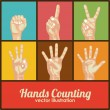 Hands counting — Stock Vector
