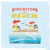 Vacation in the beach — Stock Vector