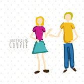 Watercolor couple — Stock Vector