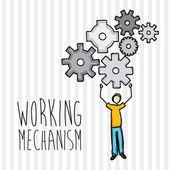 Working mechanism — Stock Vector