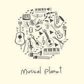 Musical planet — Stock Vector