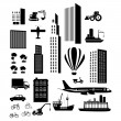 Transport and city  icons  — Stock Vector
