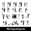 Marriage pictograms — Image vectorielle