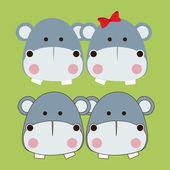 Progettazione di ippopotami — Vettoriale Stock