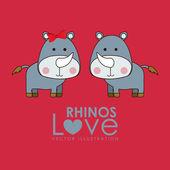 Rhinos design — Stock Vector