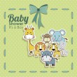 Baby shower animals icons — Stock Vector #30929929