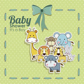 Baby shower animals icons — Vector de stock
