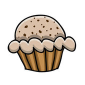 Cup cake drawing — Stock Vector