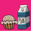 Milk and cupcake drawing — Stock Vector