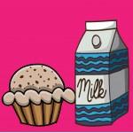 Milk and cupcake drawing — Stock Vector #33383899