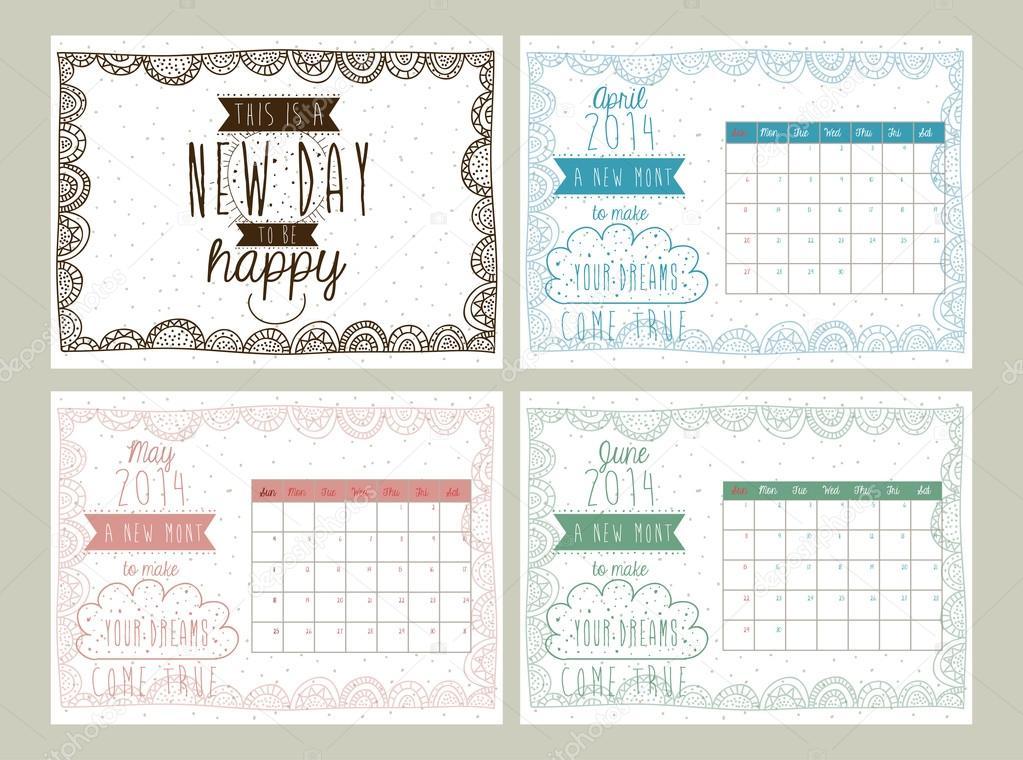 Calendar Design Illustrator : Calendar design — stock vector grgroupstock