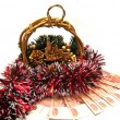 Cristmas gold basket with tinsel — Стоковое фото #10960936