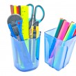 Two  blue glasses with office supplies - Stock Photo