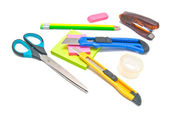 Different office stationery on white — Stock Photo