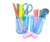 Containers with office supplies — Stock Photo
