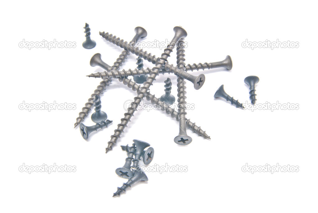 Different black screws on white background — Stock Photo #12473928