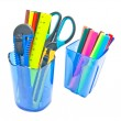 Blue glasses with office supplies on white - Stock Photo