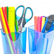 Stock Photo: Containers with office supplies close-up on white