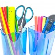 Containers with office supplies close-up on white - Stock Photo