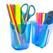Containers with office supplies on white — Stock Photo