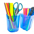Containers with office supplies on white - Stock Photo
