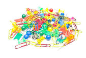 Colorful stationery pins and paperclips — Stock Photo