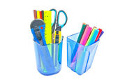 Two blue glasses with office supplies on white — Stock Photo