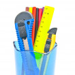 Stock Photo: Blue container with office supplies