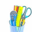 Stock Photo: Container with office supplies close-up on white
