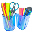 Stock Photo: Blue containers with office supplies close-up on white