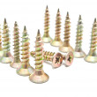 Stock Photo: Set of golden screws