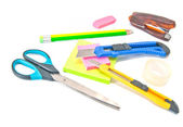 Many different office stationery on white — Stock Photo