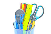Container with office supplies on white — Stock Photo